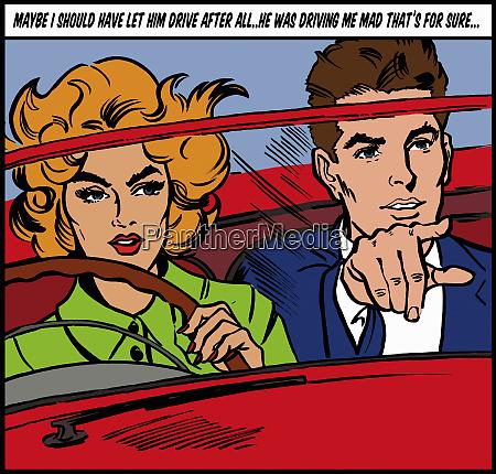 woman driving convertible car and thinking