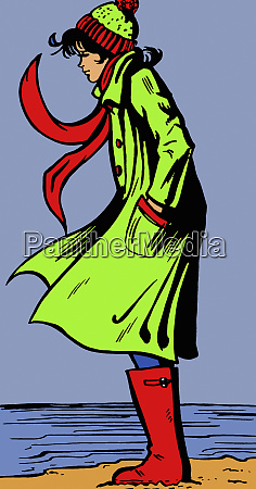 woman in warm clothing on windy