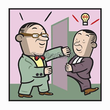 businessman opening door for man with