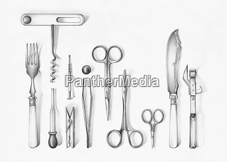 variety of implements like fork corkscrew