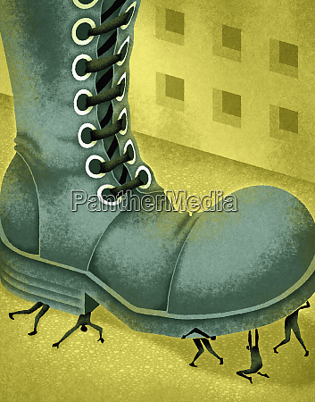 large boot stomping on small people