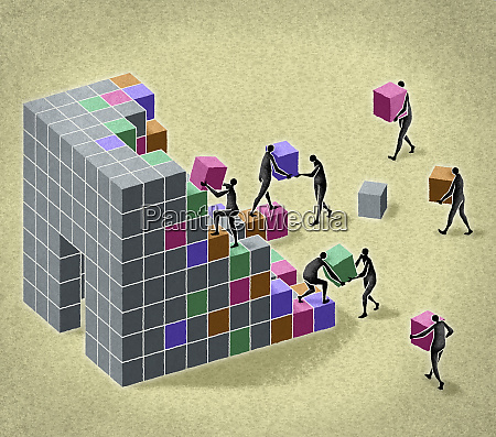 business people building structure with blocks