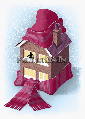 house wrapped up in cap and