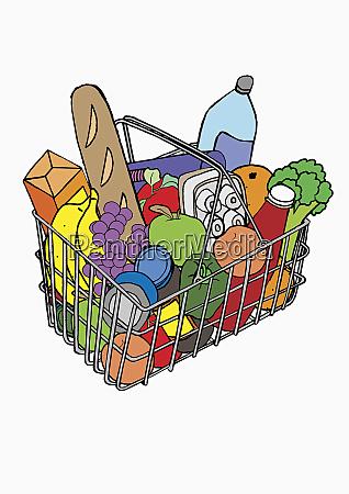 basket full of groceries