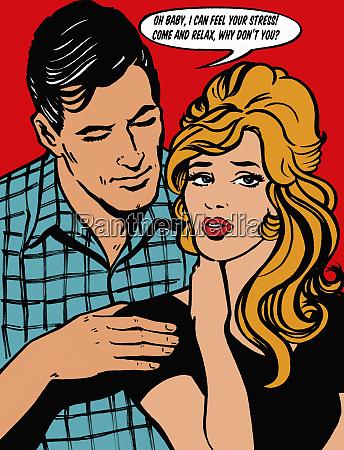 boyfriend comforting stressed girlfriend talking in