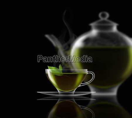 mint tea glass teacup saucer and