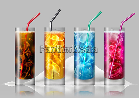 row of brightly colored fizzy drinks