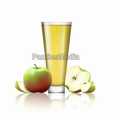 fresh apples and glass of apple