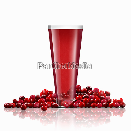 fresh cranberries and glass of cranberry