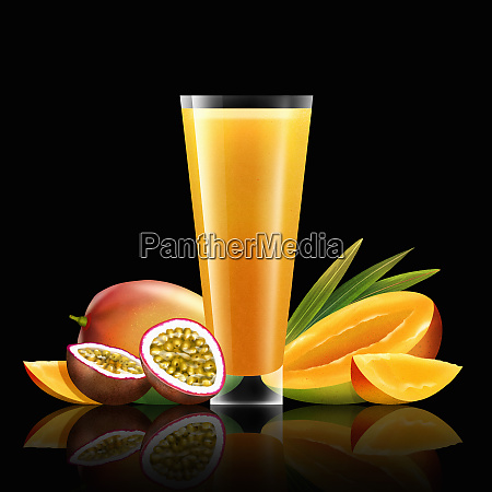 fresh mango and passionfruit and glass