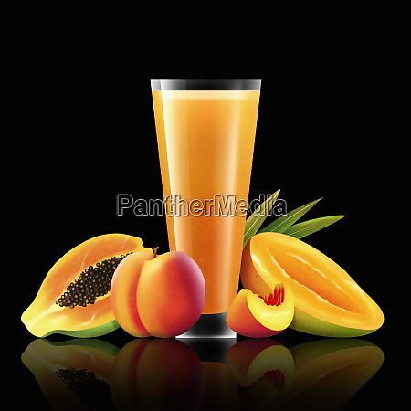 fresh mango peach and papaya with