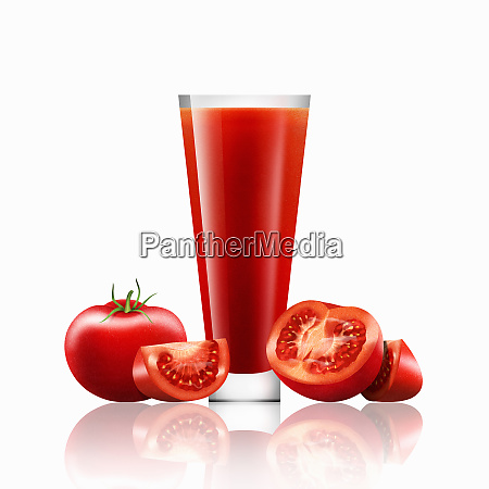 fresh tomatoes and glass of tomato