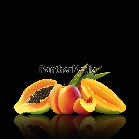 fresh mango peach and papaya