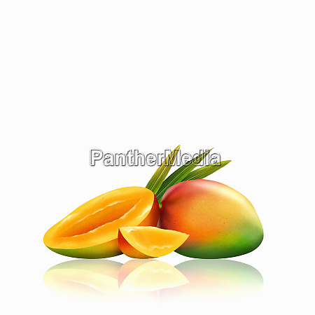 fresh mangoes whole half and slice