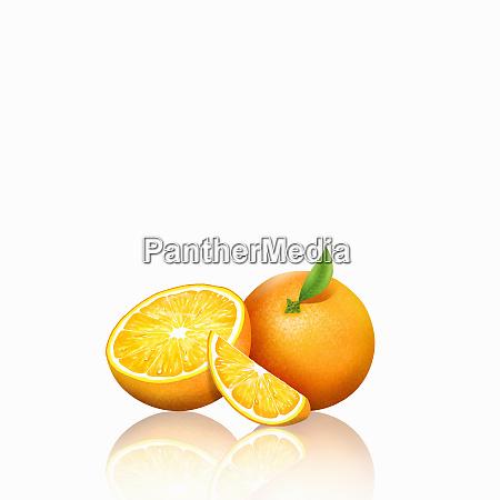fresh oranges whole half and slice