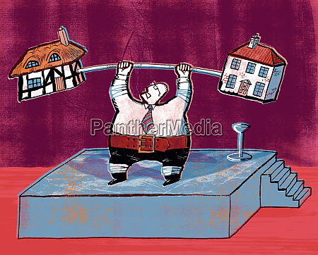 businessman lifting barbell with houses on