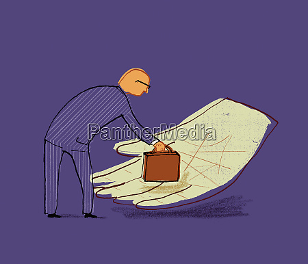businessman putting briefcase into large hand