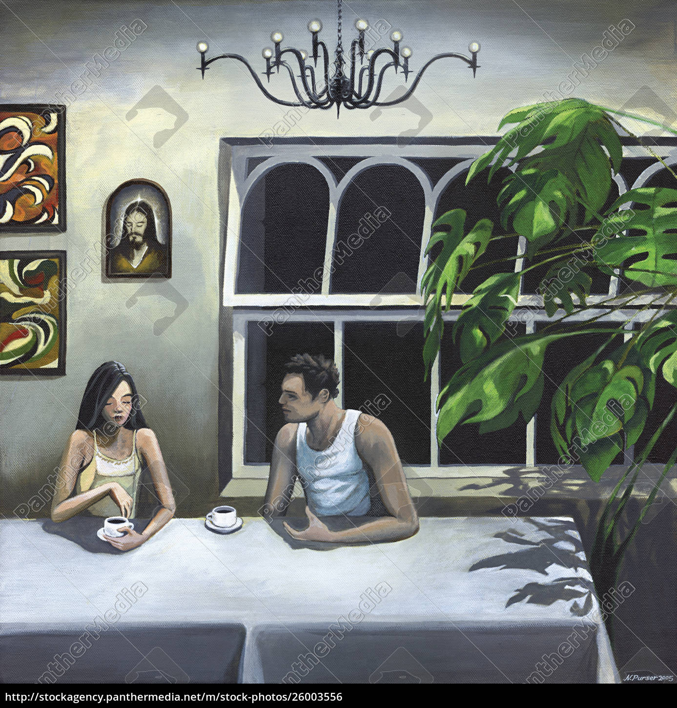 couple, talking, at, table - 26003556