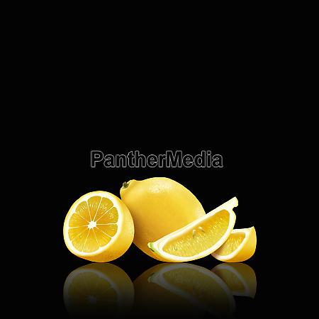 whole, and, cut, lemons - 26003058