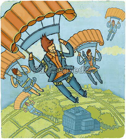 business people parachuting above building