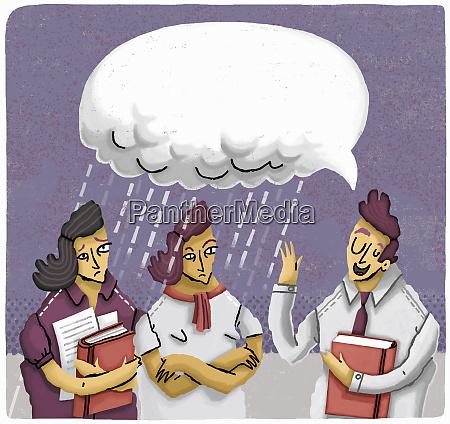 frustrated businesswomen listening to arrogant male