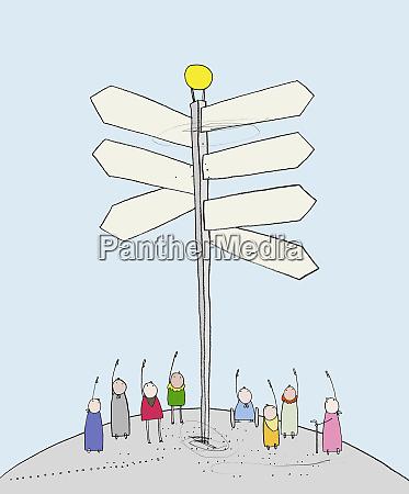 people standing under milepost