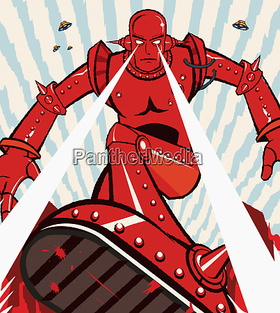 red robot attacking with beams from