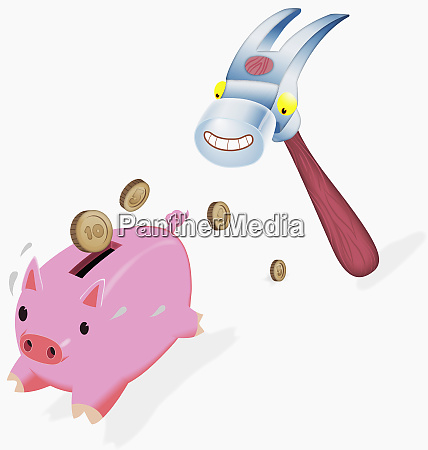 anthropomorphic hammer chasing piggy bank