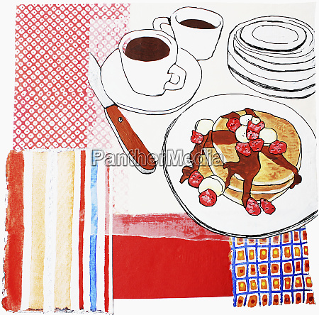 coffee and pancakes with fruit on