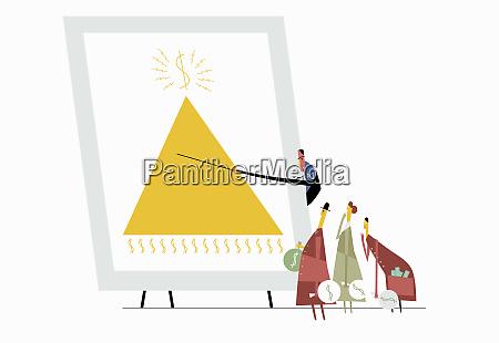 man showing pyramid scheme to investors