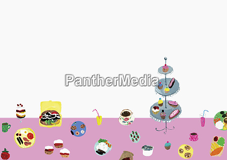 variety of cakes and tea