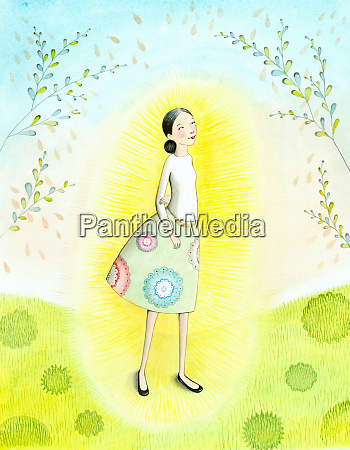 light shining around happy woman in