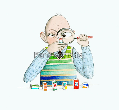 older man reading labels with magnifying