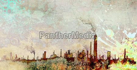 pollution over city skyline