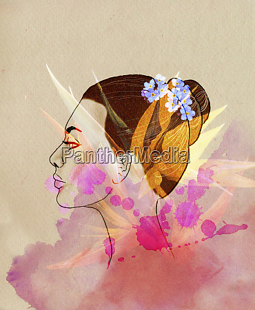 profile of beautiful woman with superimposed