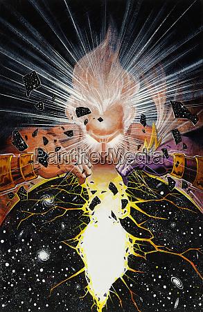 glowing god cracking universe