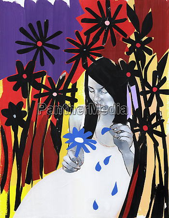 sad woman plucking petals from flower