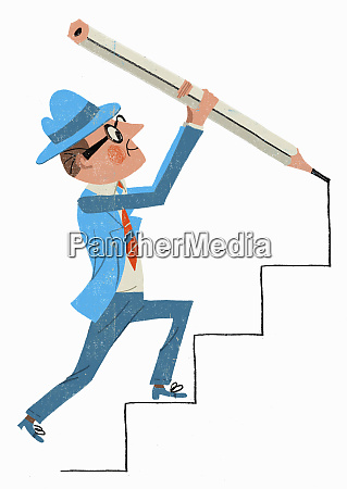 businessman drawing steps with pencil