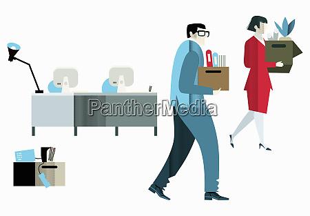 office workers leaving with belongings