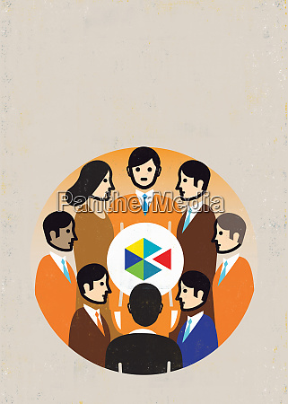 circle of business people surrounding geometric