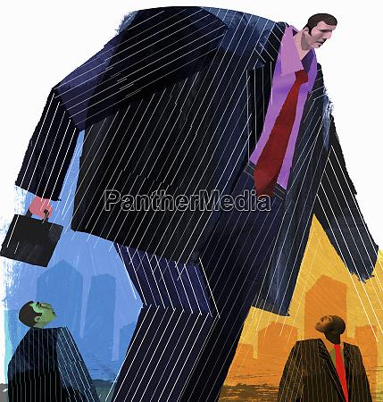 businessmen watching large businessman walking