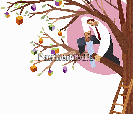 businessman sawing branch from tree