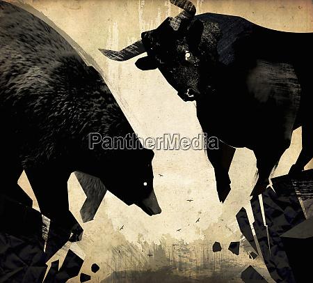 bull and bear at the edge
