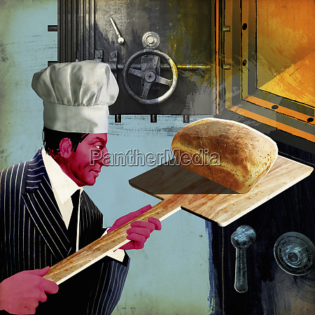 businessman removing bread from oven bank