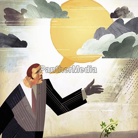 businessman forecasting improvement with sun speech
