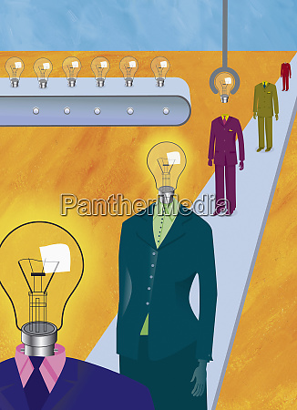 business people with light bulb heads