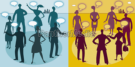 business people talking and thinking