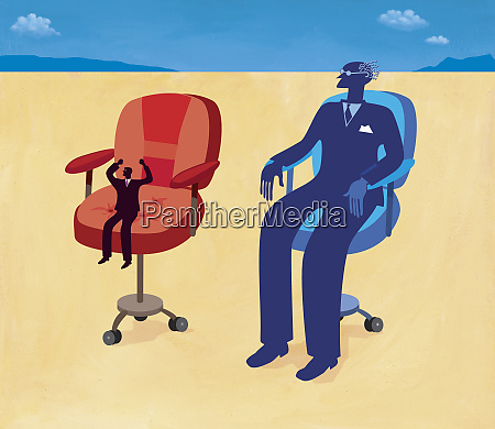 small and large businessmen sitting in