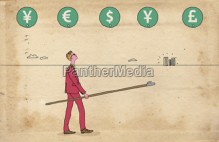 businessman with pole and hook choosing