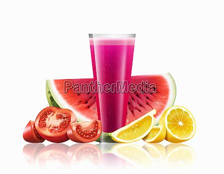 glass of watermelon tomato and lemon
